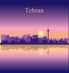 tehran city silhouette on sunset background vector image