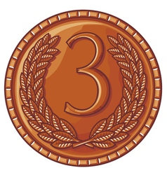 third place medal with laurel wreath vector image vector image