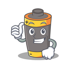 Thumbs up battery character cartoon style vector
