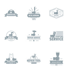 Tool renovate logo set simple style vector