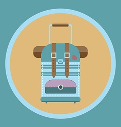 Tourist bag with wheels and handle flat icon vector