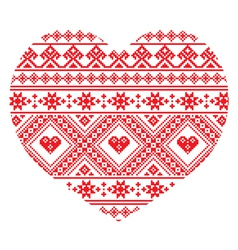 Traditional Ukrainian folk art heart pattern vector
