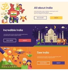 Traveling to India website headers banners set vector