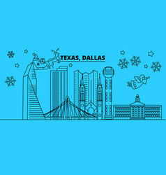 united states dallas winter holidays skyline vector image