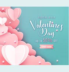 valentines day sale background in trendy paper cut vector image