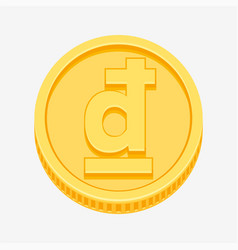 Vietnamese dong symbol on gold coin vector