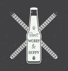vintage beer logo with hand lettering fun vector image