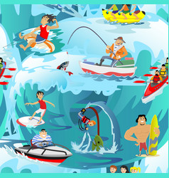 water extreme sports seamless patterns design vector image