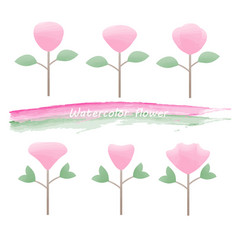 watercolor painted bright pink flowers vector image
