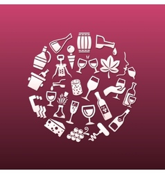 wine icons in circle vector image