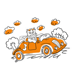 with cartoon cat in a car vector image