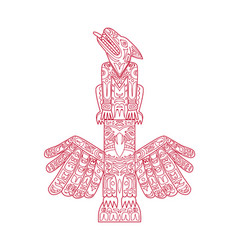wolf and eagle totem pole doodle art vector image