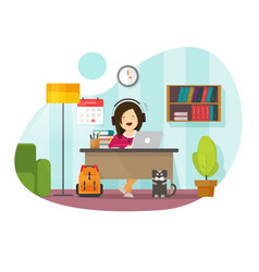 Working from home freelancer person sitting vector