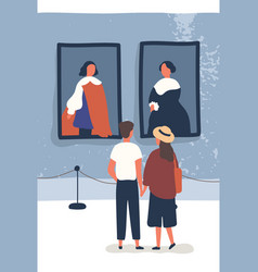 Young couple contemplate classical paintings in vector