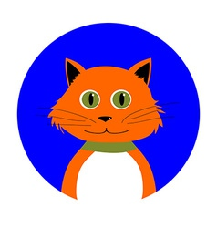 Cartoon Red Cat in Circle vector image
