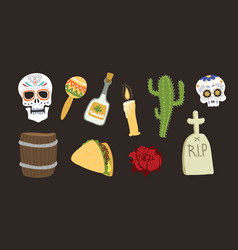 colorful symbols for dia de los muertos day of the vector image