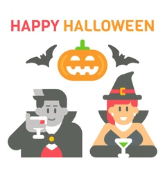 Flat design Halloween greeting vector image