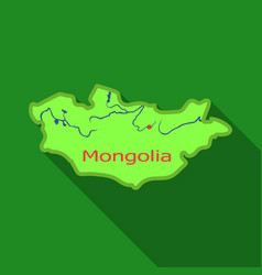 green map of mongoliamongolia on the world map vector image