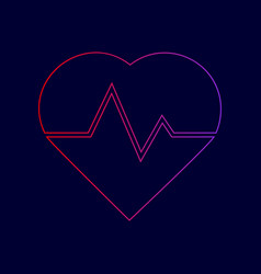 heartbeat sign line icon vector image