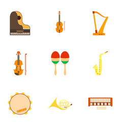 musical instruments icons set flat style vector image vector image
