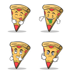 pizza character cartoon set collection vector image