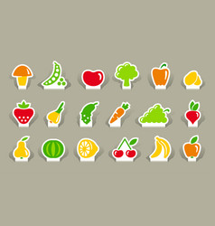 vegetables and fruit icons on stickers vector image vector image