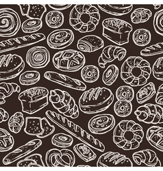 Bakery Sketch Pattern On Chalkboard vector image vector image
