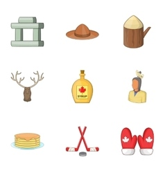 Canadian symbols icons set cartoon style vector image