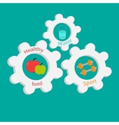 Gear cogwheel set with water apple dumbell Healthy vector image