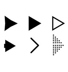 set black arrow icons on white background black vector image