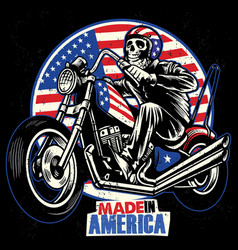 Skull ride an american flag painted motorcycle vector
