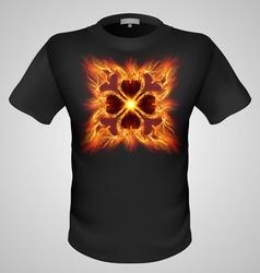 t shirts Black Fire Print man 27 vector image vector image