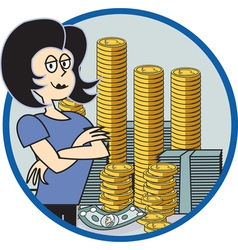 Business lady with money vector image vector image