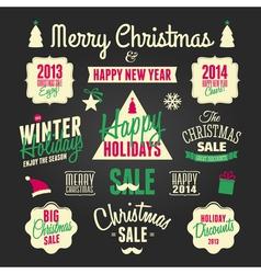 chalkboard style christmas design elements set vector image vector image