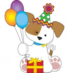 cute puppy birthday vector image vector image