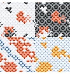 Fish Carp Koi Scales Seamless Pattern Set vector image