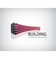 horizontal red 3d building office logo vector image
