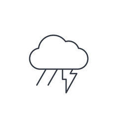 lightning thunder storm rain and cloud thin line vector image vector image