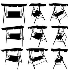 set of different garden swings vector image vector image