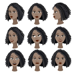Set of emotions of the same black girl vector image vector image