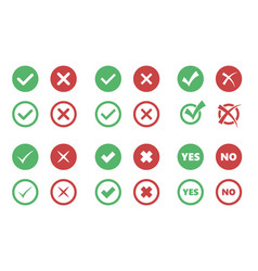 Tick and cross icons check box signs vector