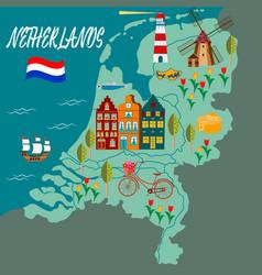 travel amsterdam landmark banner vector image