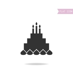 Cake with candles Black silhouette flat icon vector image