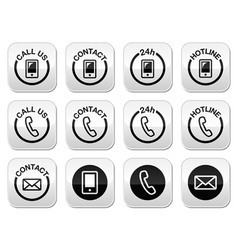 Contact hotline 24h help buttons set vector image