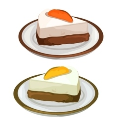 Delicious cheesecake with fruits dessert on plate vector image vector image