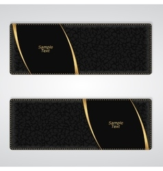 Elegant black leather horizontal banner with two vector image vector image