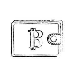 figure bitcoin symbon in the wallet to save money vector image vector image