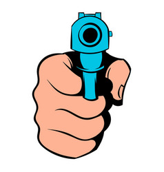 hand pointing with the gun icon icon cartoon vector image