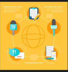 Mass media global flat infographic concept vector