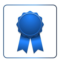 Ribbon award icon blue vector